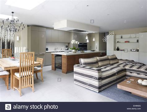 Modern open plan kitchen, dining area and living area with