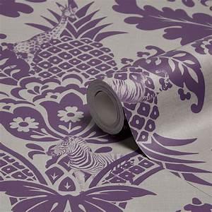 Holden Décor Bengal Purple Damask Wallpaper | Departments ...