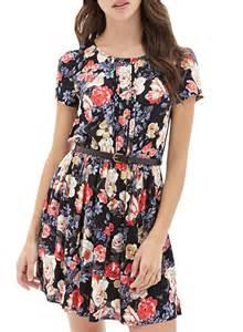 Chiffon Trapeze Dress Floral