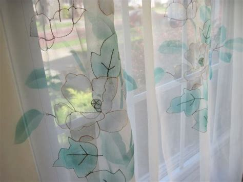vintage white sheer transparent window curtain panel with