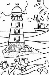 Lighthouse Coloring Pages Beach Shore sketch template