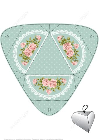 handmade gift box template  roses  printable