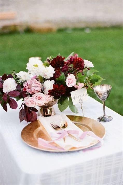 romantic burgundy  rose gold fall wedding ideas page