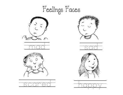 kindergarten feelings faces worksheet circle the mad