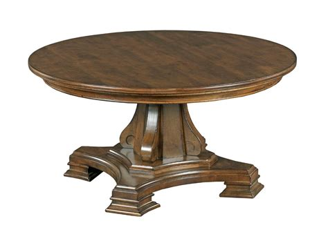 round pedestal coffee table kincaid furniture portolone round solid wood cocktail