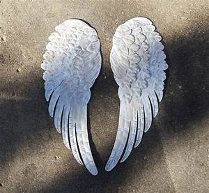 Large angel wings metal wall decor by