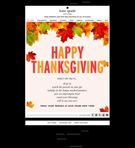 thanksgiving card email template kate spade email marketing thanksgiving card nov 2013