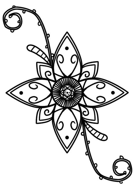 This would work in ink on paper or in henna on skin. Cool flower. | Cool henna designs, Henna