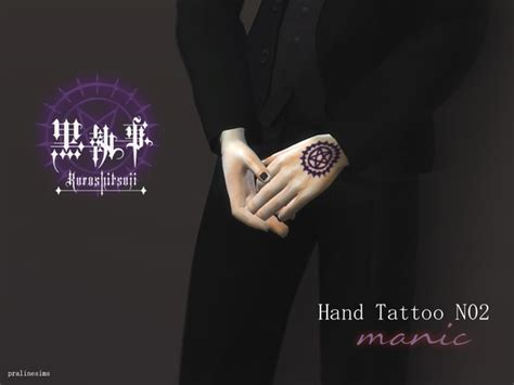 hand tattoo manic black butler  pralinesims  tsr