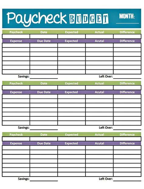 budget worksheet printable  paid weekly  charlie