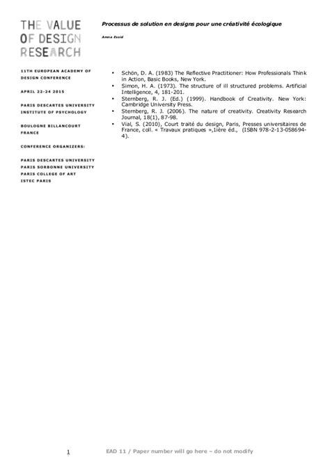 PROCESSUS DE SOLUTION EN DESIGN POUR UNE CRÉATIVITÉ ÉCOLOGIQUE