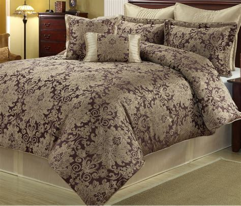 ethel gold purple 8 piece floral comforter set
