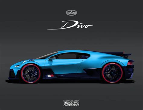 The interior features a mixture of black and blue alcantara and leather. Bugatti Divo rendered with different liveries and it's stunning - Drivers Magazine