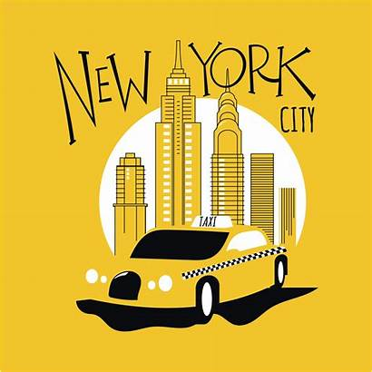 Taxi York Yellow Street Vector Clipart