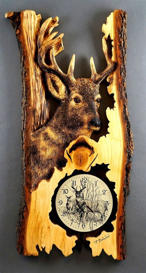 wooden gifts carved  hand deer clocks unique wood