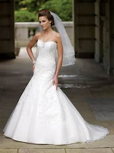 Elegant and lovely organza dropped waist wedding dresses for Drop waist a line wedding dress