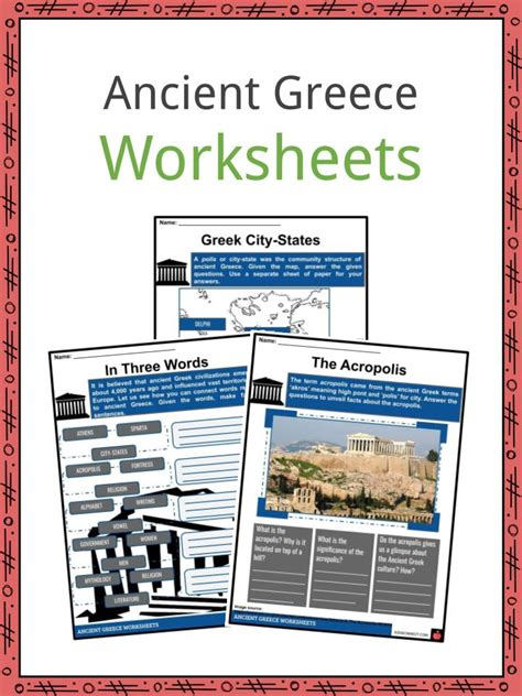 ancient greece worksheets facts information  kids