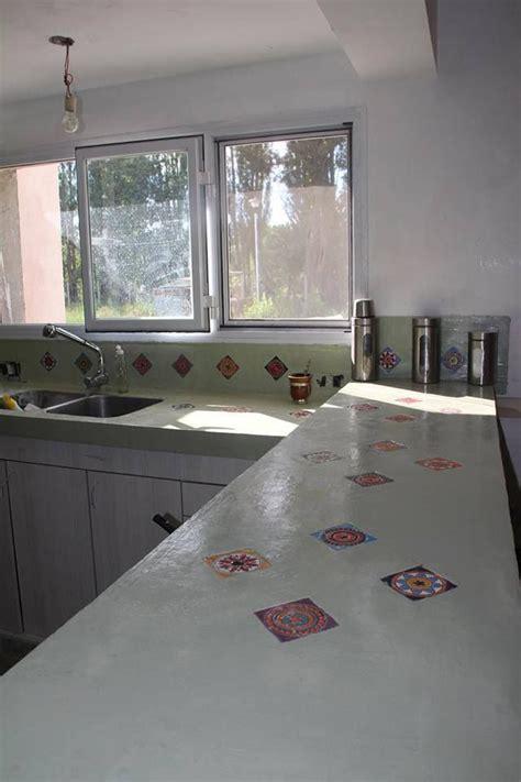 encimeras para cocinas de cemento alisado con inclusión de