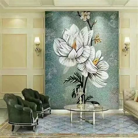 murals puzzle tiles hand  flower tile crystal glass