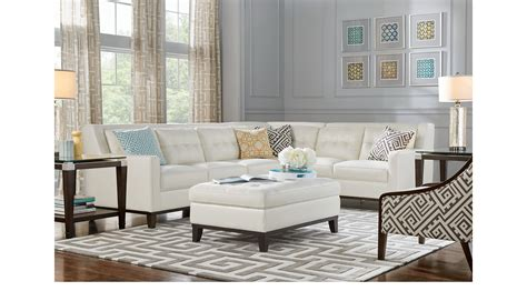 reina point white leather  pc sectional living room contemporary