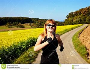 Happy Woman Running In A Field Stock Images - Image: 21335294