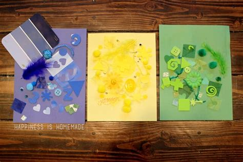 kids crafting  color collage art activity happiness