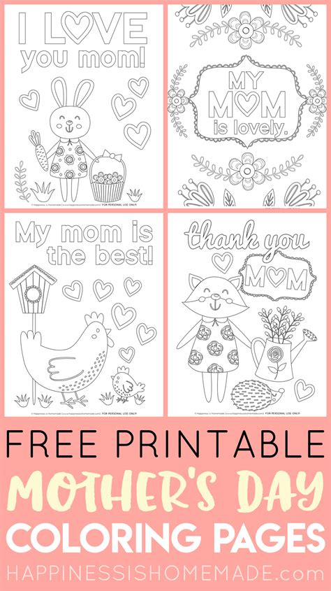 mothers day coloring pages  printables happiness  homemade