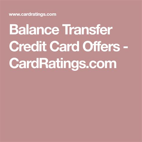 Maybe you would like to learn more about one of these? Balance Transfer Credit Card Offers - CardRatings.com | Balance transfer credit cards, Balance ...