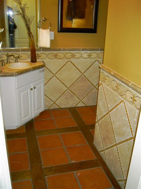 hickory hardwood planks  mexican saltillo tile inset