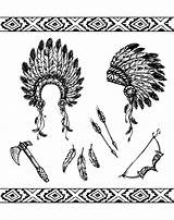 Native Coloring American Pages Symbols Adult Adults Americans Indian Feather Hat Indians Printable Symbol Designs Axe Source Indien Symboles Feathers sketch template