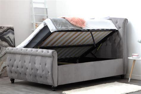 Ottoman Sleigh Bed by Hton Grey Velvet Upholstered Ottoman Storage Sleigh Bed