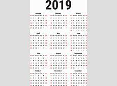 Kalendarz 2019 ilustracja wektor Ilustracja złożonej z