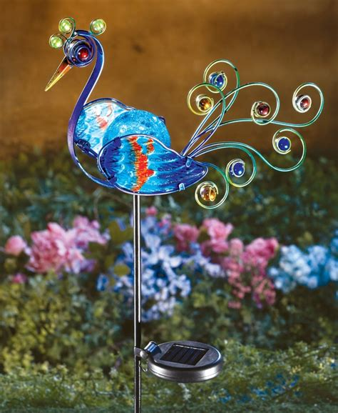 solar lighted peacock decorative metal garden stake