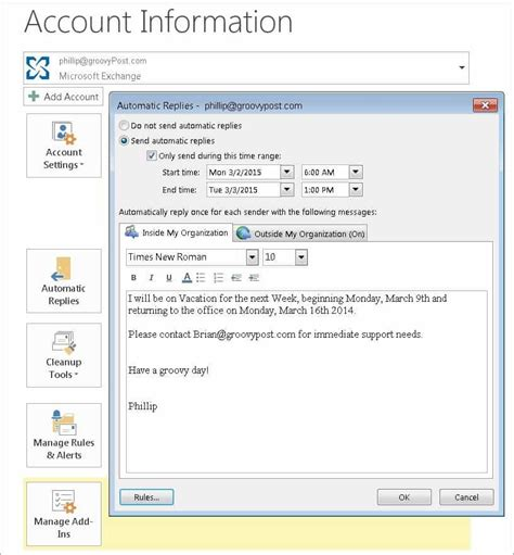 outlook message absence bureau out of office message outlook 2013 enabling an out of