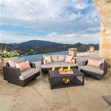 Portofino Patio Furniture Set by Portofino Comfort 4 Seating Set In Espresso Taupe