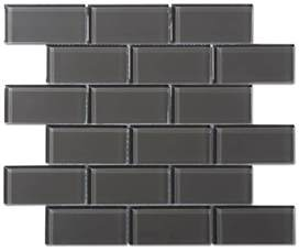 glass subway tiles for kitchen backsplash charcoal gray glass 2x4 mosaic subway tile