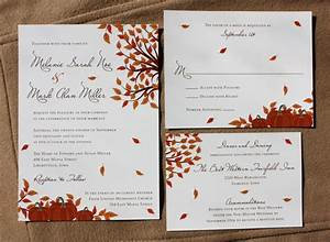 Orange fall pumpkin and falling leaf wedding invitations for Fall wedding invitations with pumpkins