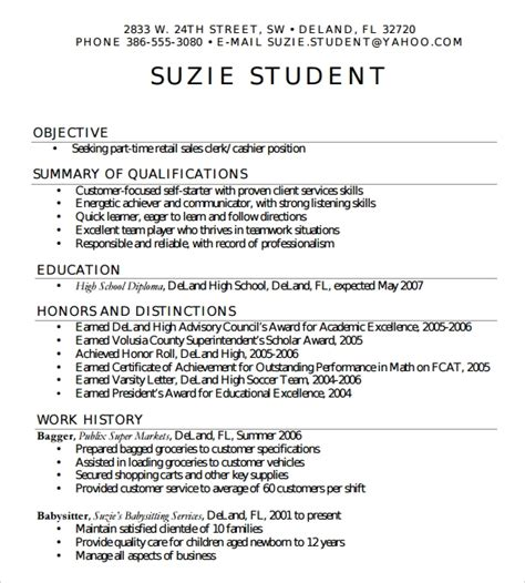 High School Student Resume by Free 6 Sle High School Resume Templates In Pdf Word