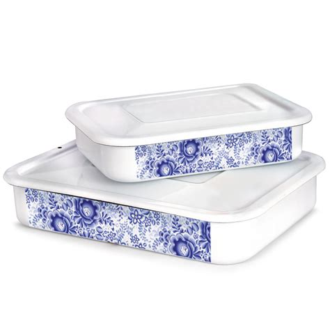 d馮lacer cuisine winter lace white enamelware food storage container product sku set 148654 148655