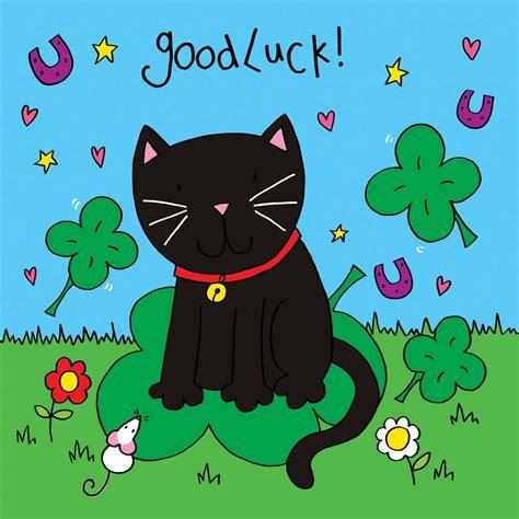 Crystals Good Luck Card  Black Cat