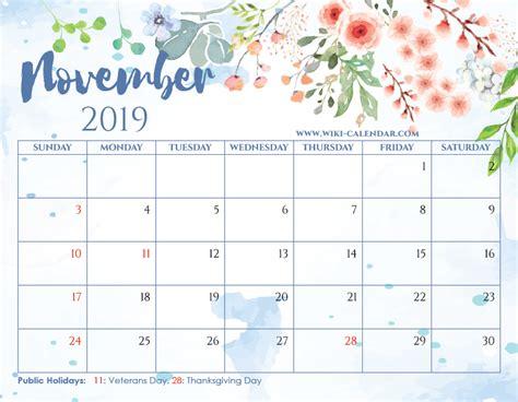 blank november calendar printable heart