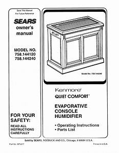 Sears Humidifier 758 144120 User Guide