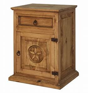 Rustic Wood Nightstand With Texas Star Mexican Rustic