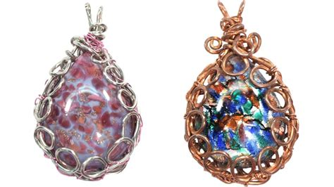 easy wire wrapped bezel pendant tutorial youtube