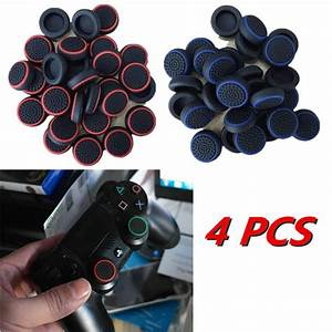 4X BlackRed Game Joystick Thumbstick Caps For PlayStation