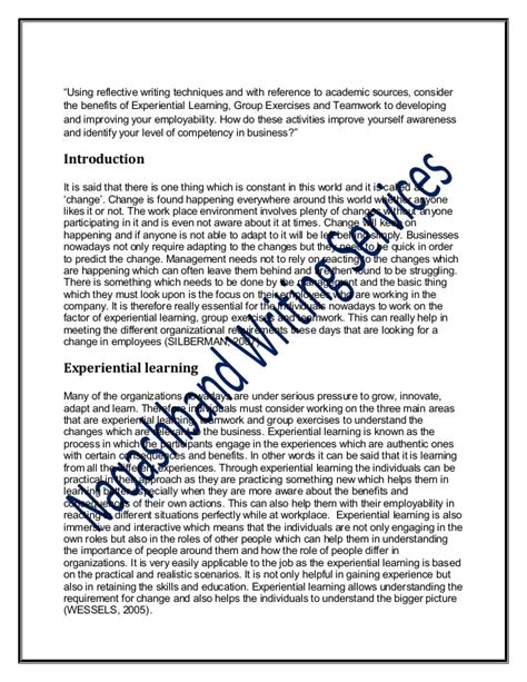 word reflective essay corp