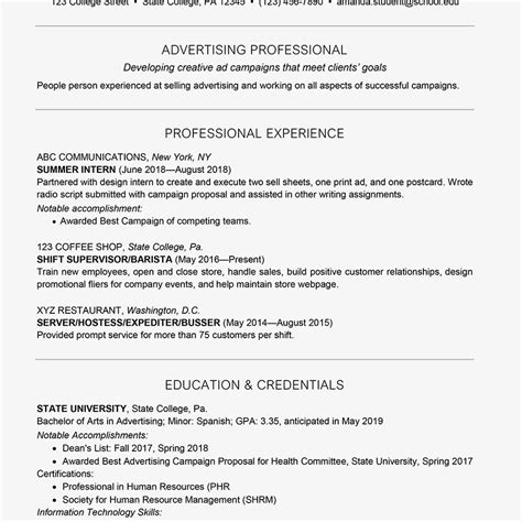 Resume Sles For College Students Seeking Internships by College Student Resume Exle