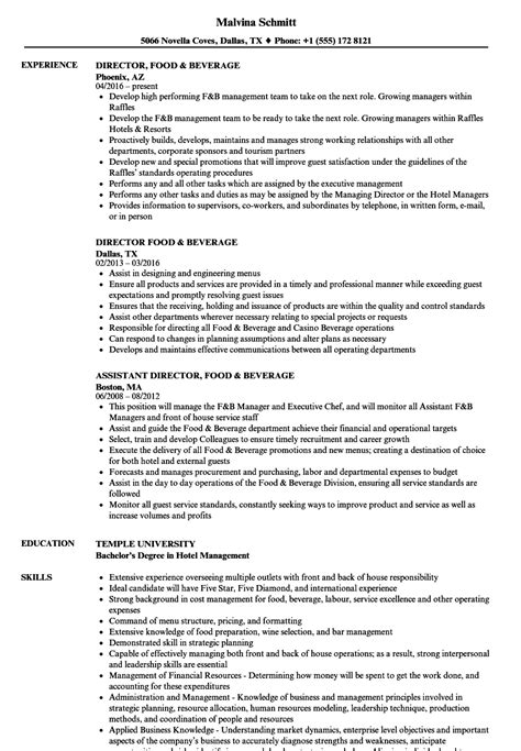 Resume F B Director by Director Food Beverage Resume Sles Velvet