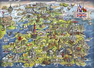 Illustrated Map Of The United Kingdom Painting by Maria