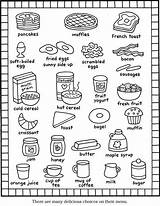 Coloring Breakfast Pages Printable Menu Items Recipes English Books Foods Sheet Easy Kitchen Cat Dover Kid Cute Recipe Meals Colorng sketch template